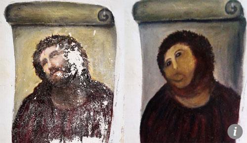 Bức tượng thánh George sau khi được phục hồi trở thành trò cười cho thế giới ở Tây Ban Nha. Ảnh: SCMP.