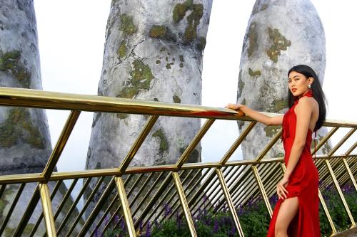 Dàn hoa hậu các nước check-in cầu Vàng Đà Nẵng - ảnh 4