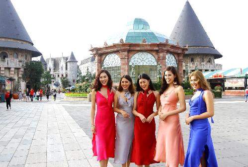 Dàn hoa hậu các nước check-in cầu Vàng Đà Nẵng - ảnh 7