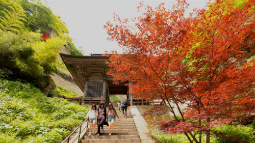 Mặc dù tên chính thức của ngôi đền là Risshakuji, nhưng người dân địa phương thường gọi là Yamadera, có nghĩa là ngôi đền trên núi. Ngôi đền được xây dựng vào năm 860,là nơi tu hành của các tín đồ Phật giáo Tendai của vùng Tohoku phía bắc; quầnthể bao gồm hơn chục địa điểm tôn giáo khác nhau như đền thờ, cổng và tượng đài. Một số địa đểm đáng lưu ý là hội trường Konpon-chudo, nơi được cho là có một ngọn lửa Phật giáo cháy vĩnh cửu trong hơn 1.000 năm và Hiho-kan (kho tàng) được xây dựng năm 1144, nơi trưng bày các hiện vật Phật giáo quý giá nhất của Yamadera.