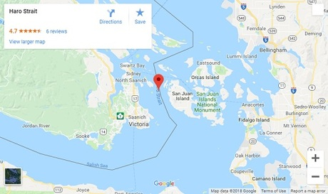 Đường biên giới giữa Mỹ và Canada ngày nay. Ảnh:Google Map.