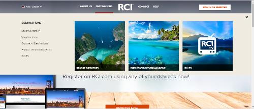 Trang web của RCI Mạng lưới trao đổi kỳ nghỉ lớn nhất thế giới.