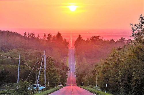 Hoàng hôn nhìn từ con đường nổi danh tại Hokkaido. Ảnh: travel.co.jp.