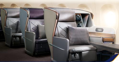 Ghế hạng thương gia trên máy bay A350-900 URL. Ảnh: Singapore Airlines.