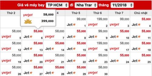 Nhiều đường bay nội địa trong tháng 11 có giá từ 55.000 đồng. Ảnh chụp màn hình.