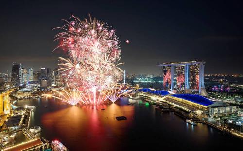 Khi đồng hồ điểm 12 giờ, những người có mặt ở lễ đếm ngược sẽ được thưởng thức màn pháo hoa ngoạn mục trải dài theo đường chân trời của Vịnh Marina.