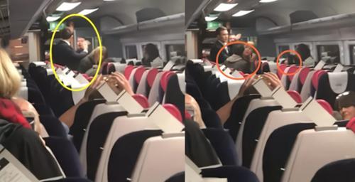 Người đàn ông (khoanh tròn màu vàng) chửi bới liên tục khiến hai vợ chồng hành khách châu Á (khoanh đỏ) phải đứng lên bỏ đi. Ảnh: Shanghaiist.