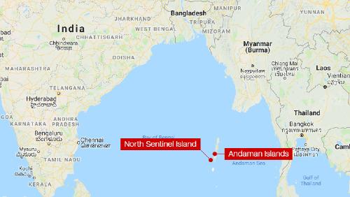 Đảo Bắc Sentinel và quần đảo Andaman ngoài khơi Ấn Độ Dương.