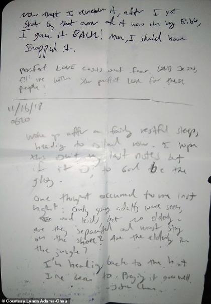 Di thư của Chau. Ảnh:Lynda Adams-Chau.