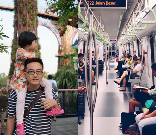 Nhà chị Hạnh chủ yếu di chuyển bằng phương tiện công cộng, đi bộ trong thời gian ở Singapore. Trên ảnh là chồng và con gái, bé Kẹo của chị.Ảnh: NVCC.