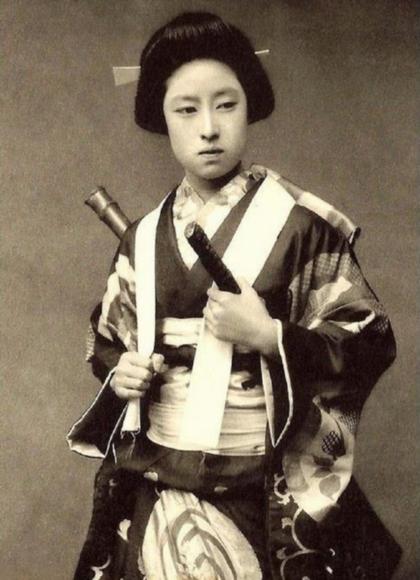 Một nữ chiến binh samuraithời xưa tại Nhật Bản. Ảnh:Pinterest.