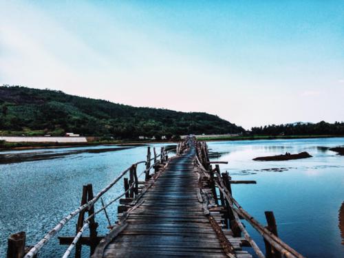 Cầu Ông Cọp là một trong những điểm tham quan nổi tiếng ở xứ sở hoa vàng trên cỏ xanh. Ảnh: Tâm Linh.