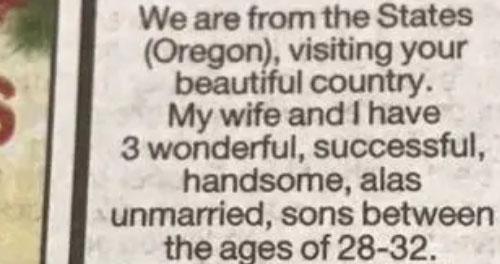 Bài quảng cáo 3 cậu quý tử của ông bố Mỹ được đăng trên báo New Zealand. Ảnh: News.