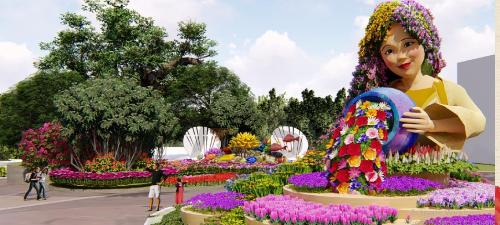 Mô hình Nàng tiên xuân kiều diễm đang rót bình hoa tươi, trao sắc xuân căng tràn xuống dân gian ở Dragon Park.