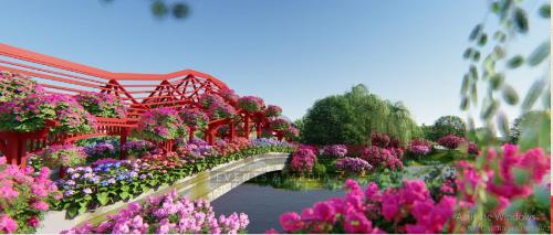 Cây cầu hoa với những góc đẹp để du khách chụp ảnh, thong thả dạo bộ.