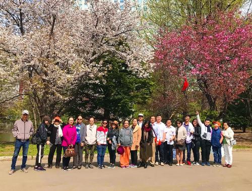Đoàn khách TST tourist du ngoạn mùa hoa anh đào.