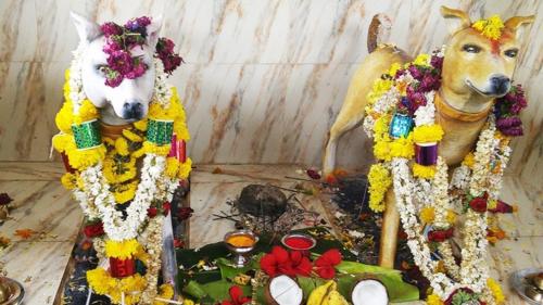 Hai bức tượng trong ngôi đền. Ảnh: NMF News.