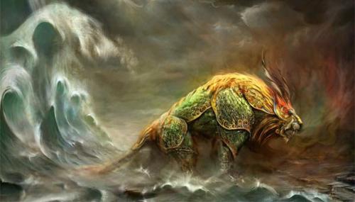Một số tài liệu khác viết rằng quái vật Niên to lớn hơn voi, có sừng dài và hàm răng nhọn. Ảnh: Ancient Origins.
