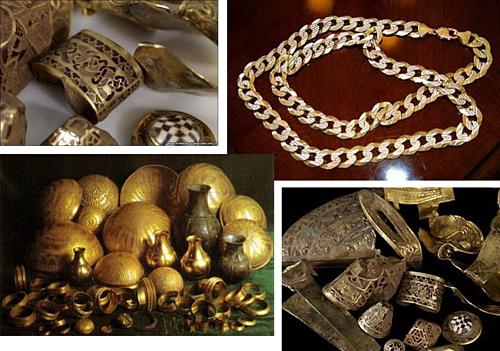 Chính phủ Ấn Độ đã thu được 300 kg đồng tiền vàng trong kho báu, nhiều trang sức quý giá khác. Ảnh: Amusing Planet.