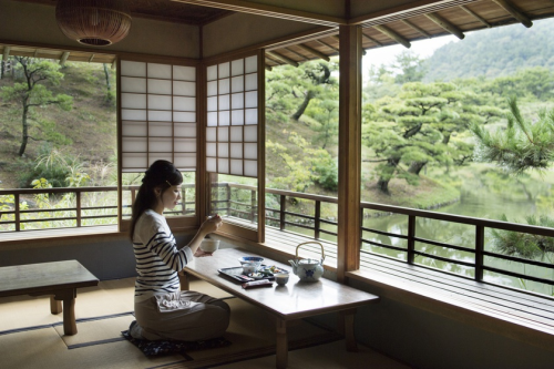 Hai bên bờ là màu xanh của các loại cây bonsai với các hình thế độc đáo, không khí trong lành, thanh bình. Khu vườn có một quán trà, nhiều triển lãm nghệ thuật dân gian, các mặt hàng thủ công và nghệ thuật dân gian khác nhau bày bán để hành khách lựa chọn nếu có nhu cầu.