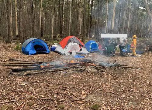 Cảnh sát cứu hỏa đến nơi đã rất sốc khi nhìn thấy cảnh các du khách đến cắm trại, đốt lửa. Ảnh: News.