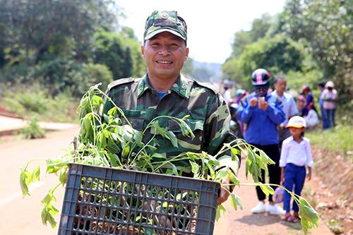 Người dân và lực lượng quân sự hưởng ứng trồng cây dã quỳ hai bên đường Hồ Chí Minh. Ảnh: Quang Hà