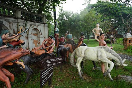 Khu vườn Khun Chang - Khun Phaen nổi tiếng tại thành cổ Siam Muang Boran, tọa tại số 7 đườngSukhumvit, quậnSamut Prakan, Bangkok. Ảnh:Muang Boran Museum.