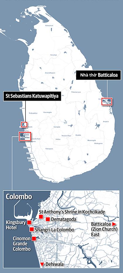 Vị trí các vụ tấn công ngày 21/4 tại Sri Lanka. Ảnh: News.com.au.