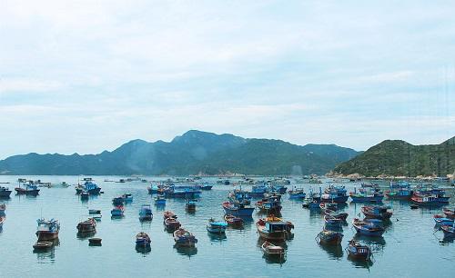 Du khách có thể di chuyển ra đảo bằng tàu gỗ hoặc cano.