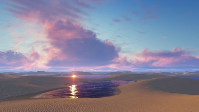 Hàng nghìn hồ nước nổi giữa sa mạc như hành tinh khác