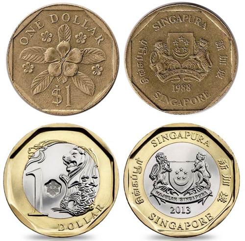 Đồng một đôla Singapore trước và sau khi thay đổi thiết kế. Ảnh: Worldofcoins.