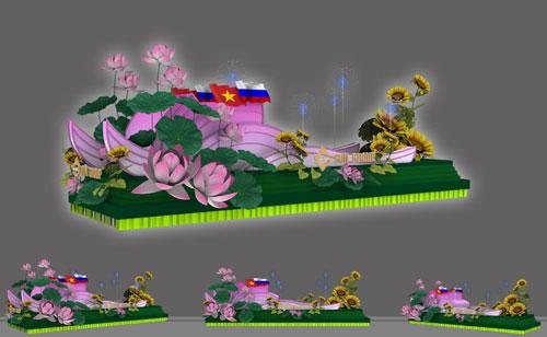 4 xe hoa là 4 sân khấu nhỏ sôi động được thiết kế lãng mạn với cảm hứng từ những loài hoa đặc trưng của các quốc gia.