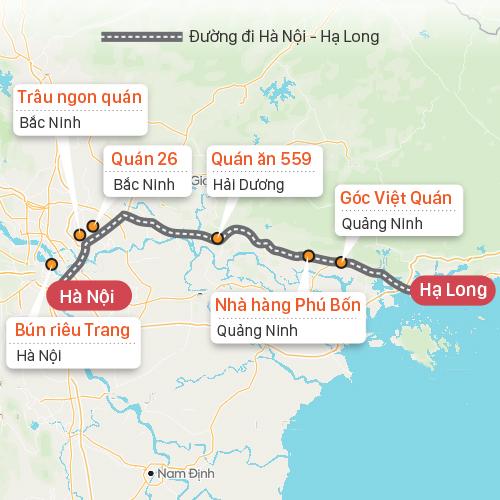 Các quán ăn trên đường Hà Nội - Hạ Long. Đồ họa: Tạ Lư.