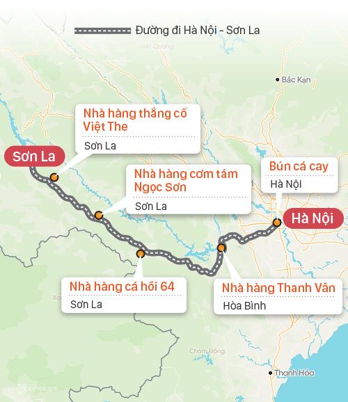 Quán ăn trên tuyến đường Hà Nội - Sơn La. Đồ họa: Tạ Lư.