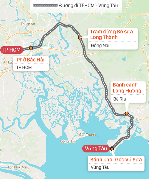 Gợi ý điểm dừng chân trên cung đường Sài Gòn - Vũng Tàu. Đồ họa: Tạ Lư.
