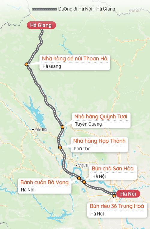 Gợi ý điểm dừng chân Hà Nội - Hà Giang. Đồ hoạ: Tạ Lư.