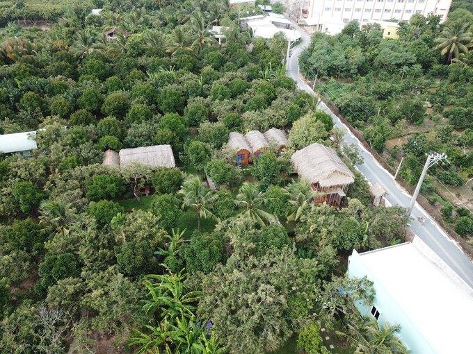 Homestay kiểu nhà tranh giữa vườn trái cây ở Tiền Giang