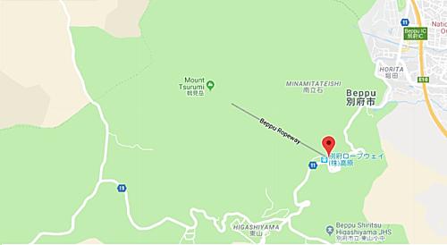 Để đến tuyến cáp treo Beppu, du khách phải mất 40 phút đi xe buýt tham quan Yufurin qua Kannawa từ ga JR Beppu, hoặc Khoảng 20 phút bằng xe buýt Kamenoi số 36 hoặc 37 từ sân ga số 1 trên Lối ra phía tây của ga JR Beppu.Ảnh: Google Map.
