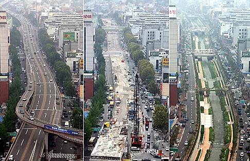 Quá trình phá dỡ đường cao tốc trên cao,khôi phục suối Cheonggye. Ngày nay du khách đi bộ dọc con suốivẫn có thể gặp vài chiếc cột chống còn lại của đường cao tốc trên cao.Ảnh:Koreabridge.