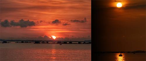 Mặt trời ló rạng ở Bình Sơn. Bình minh được coi là khoảnh khắc đẹp nhất, kết nối người dân và du khách trên không gian bờ biển cát trắng phau hoang sơ. (Ảnh Thịnh Vũ)