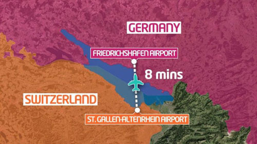 Chuyến bay quốc tế ngắn nhất thế giới dài 8 phút