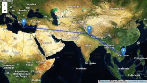Bản đồ cho thấy khoảng cách địa lý từ phía đông Địa Trung Hải và Đông Nam Á, so với hồ Roopkund ở trung tâm. Ảnh:Mapbox.