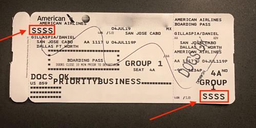 Mã SSSSđược in ngẫu nhiên, kiểm tra hành khách ngẫu nhiên nhằm đảm bảo an toàn bay. Ảnh: Upon Arriving.