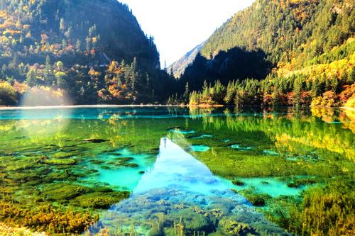 Không gian đầy màu sắc của Cửu Trại Câu khi thu sang. Ảnh: pixabay