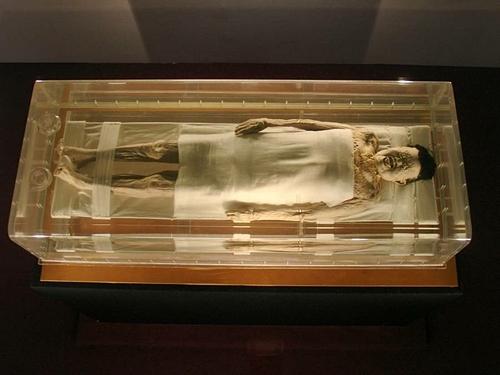 Chất lỏng không xác định được cho là sản sinh từ cơ thể của xác ướp. Ảnh: David Schroeter.