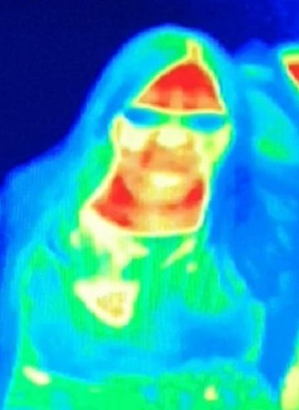 Hình ảnh của Gill trên màn hình camera nhiệt. Ảnh:PA.