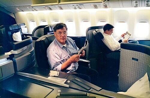 Jacques Vroom luôn luôn bay hạng nhất khi sở hữu tấm vé đặc biệt. Ảnh: Jacques Vroom.