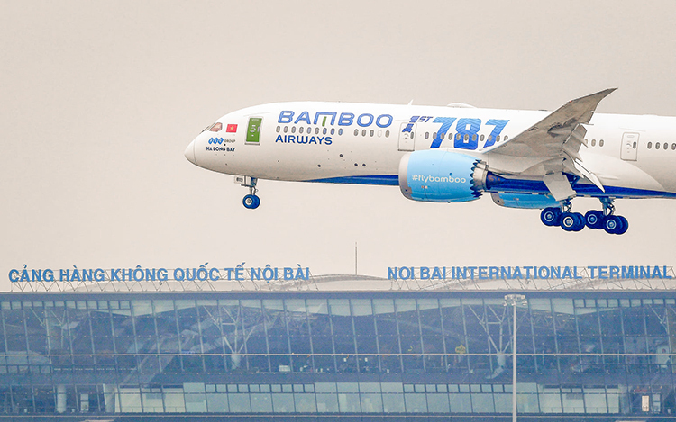 Máy bay Boeing 787-9 về đến Việt Nam hôm 22/12. Ảnh: Bamboo Airways.