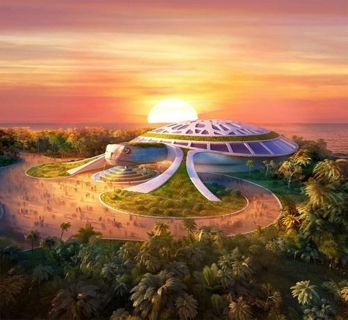 Thủy cung thiết kế hình rùa biển rộng 15.000m2 dự kiến khai trương 4/2020.