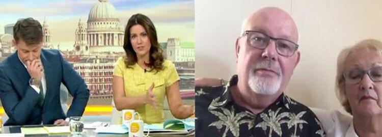 Hai vợ chồng David và Sally thực hiện cuộc phỏng vấn với phóng viên từ tàu Princess Crusie. Ảnh: ITV.